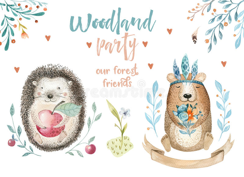 Cute baby bear and decor, forest drawing illustration, watercolour, hedgehog animal nursery isolated for children stock illustration