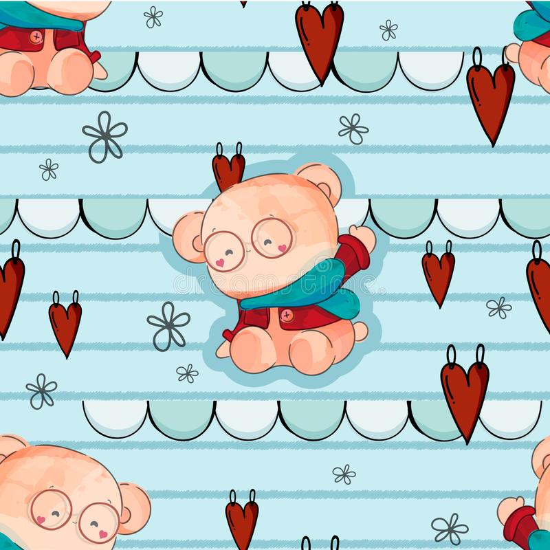 Cute baby bear hand drawn in sweet watercolor style with seamless pattern vector illustration