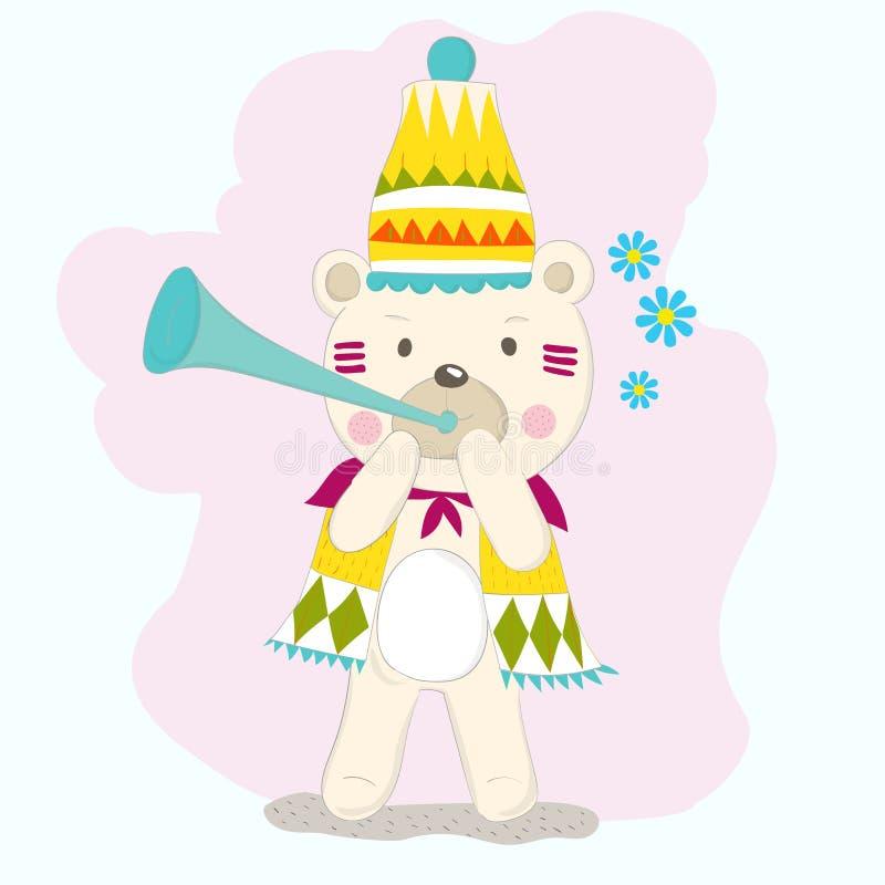 The cute baby bear play music. Hand drawn cartoon style.  royalty free illustration