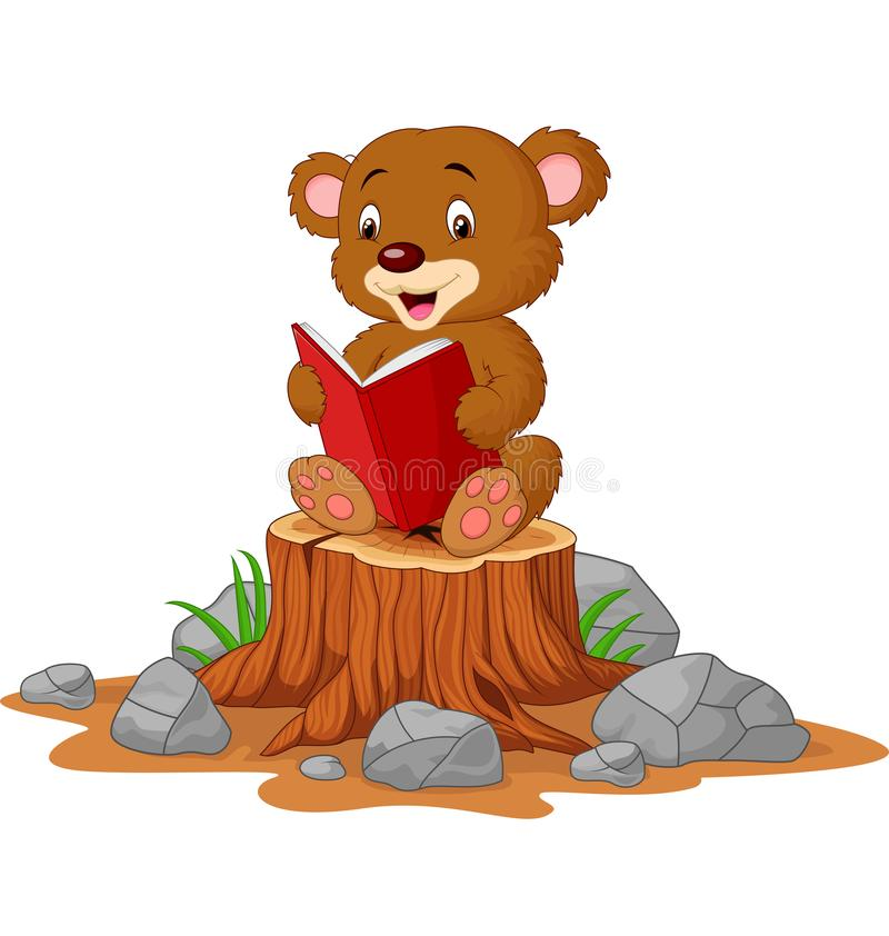 Free Cute Baby Bear Reading Book On Tree Stump Stock Images - 164884364