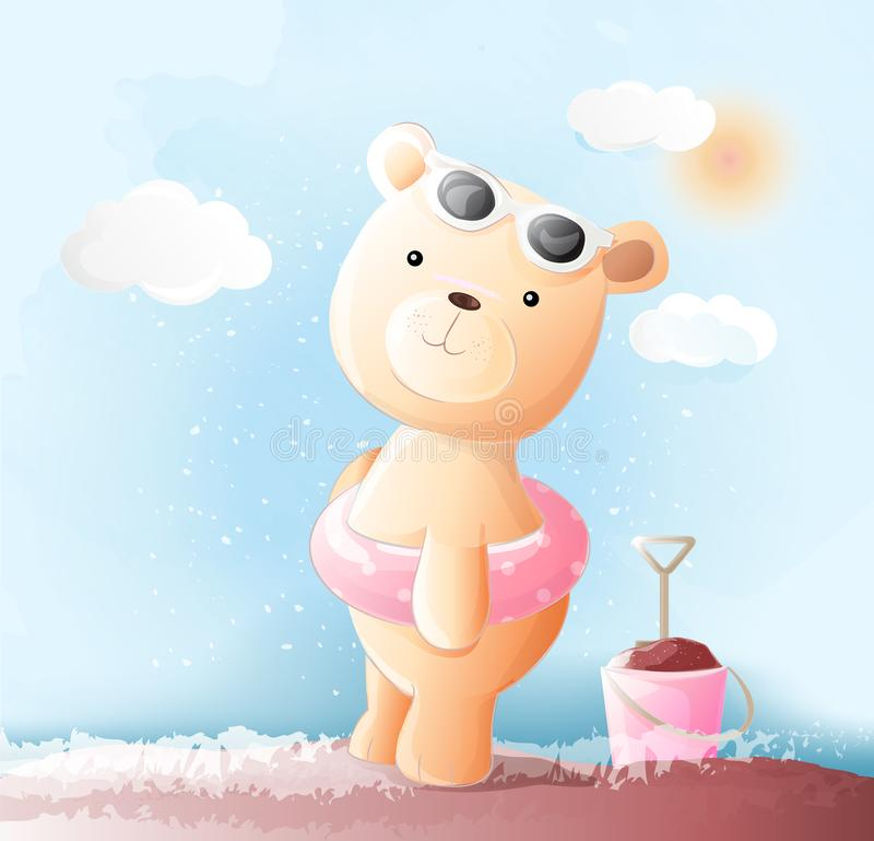 Cute baby bear watercolor style. Vector vector illustration