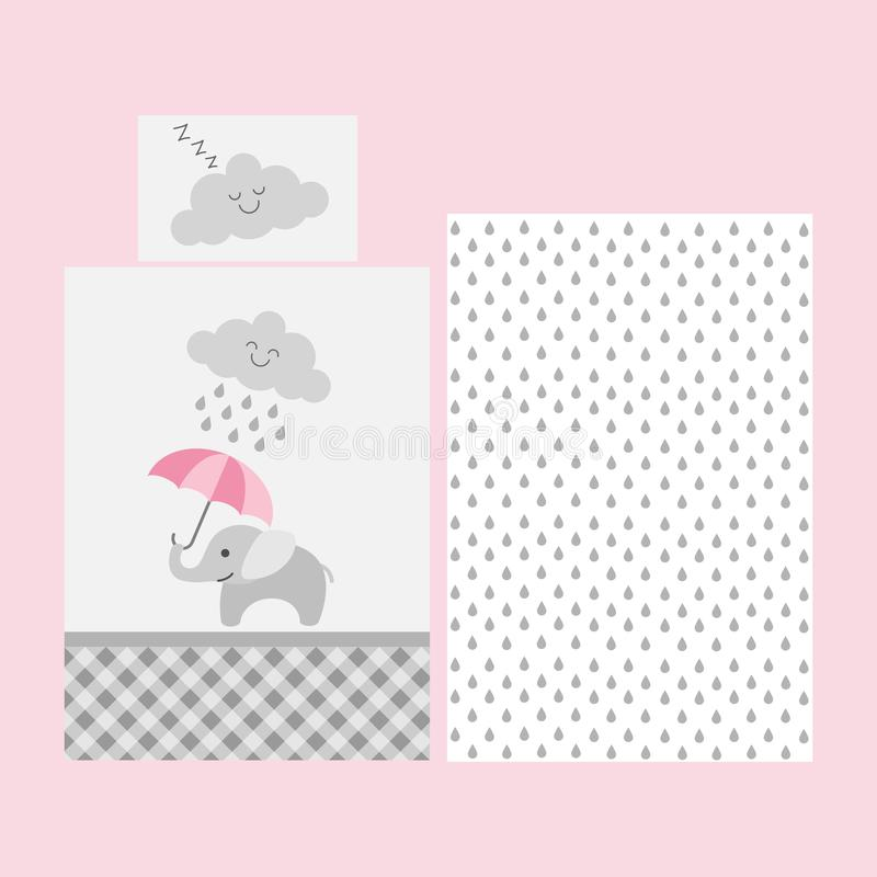 Cute baby bedsheet pattern - elephant with pink umbrella under rainy cloud vector illustration
