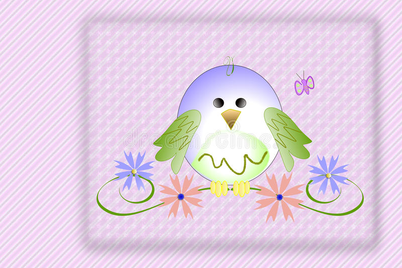 Cute baby bird. A cute baby bird illustration in pastel colorson a pink patterned background. Can be used as a symbol for youth, spring, new born stock illustration