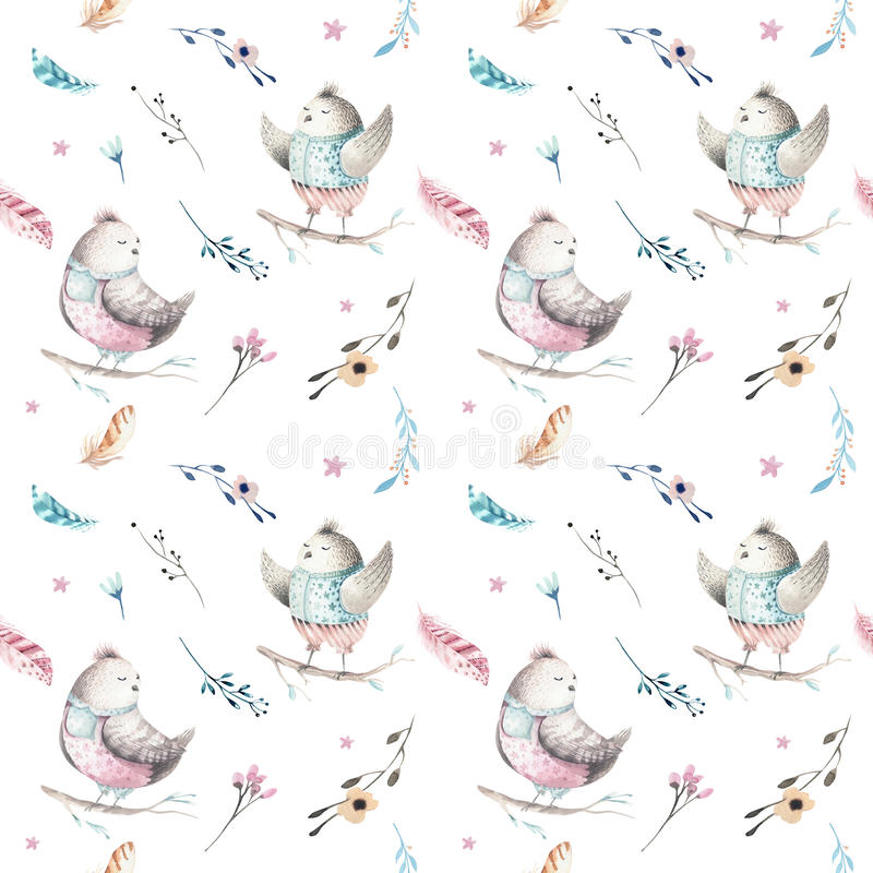 Cute baby bird animal seamless pattern, forest illustration for children clothing. Woodland watercolor Hand drawn boho royalty free illustration
