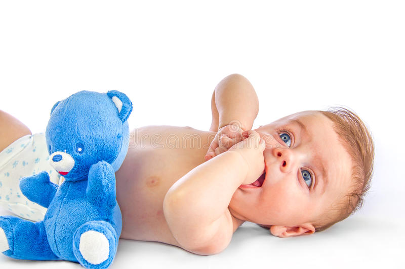 Cute baby and blue bear royalty free stock images