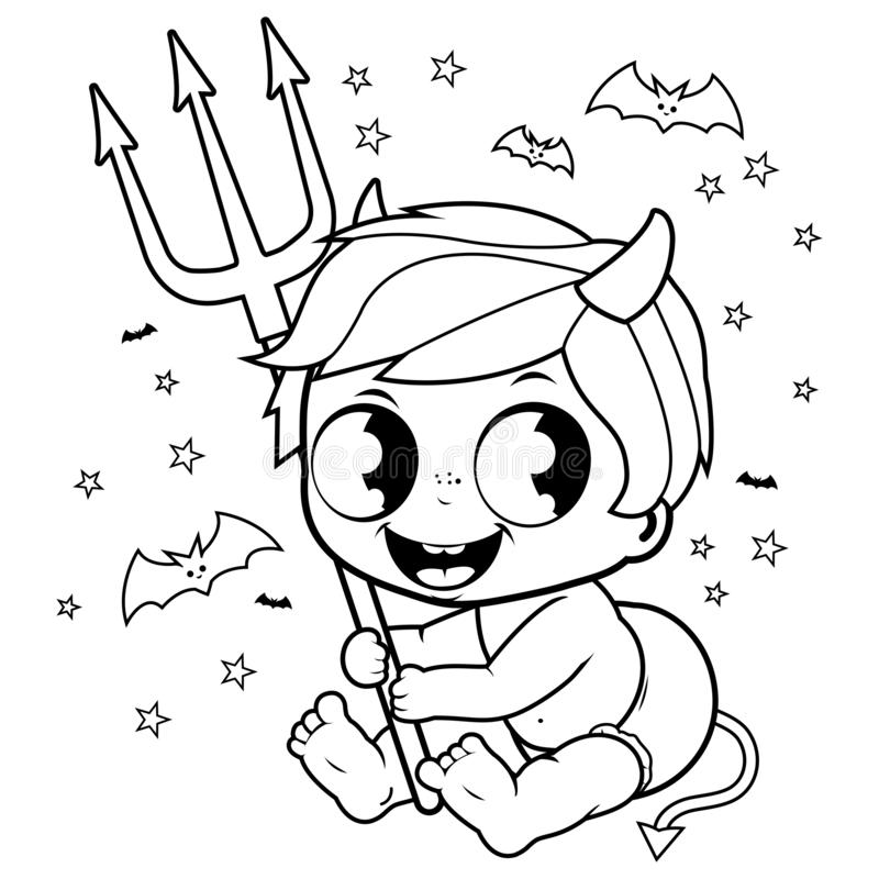 Cute baby boy in Halloween devil costume. Black and white coloring book page vector illustration