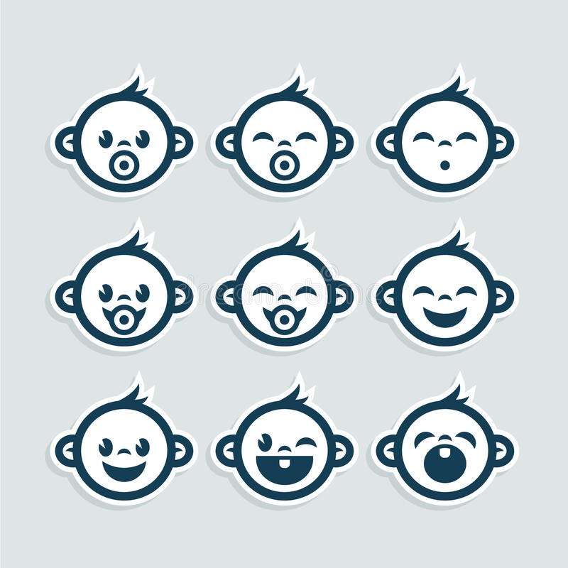 Cute Baby Boy Icons. Set of cute blue baby boy icons stock illustration