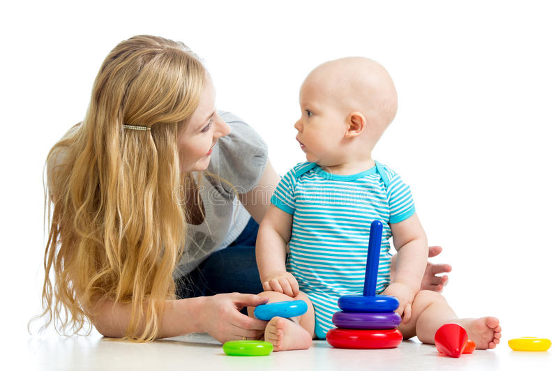 Cute Baby Boy And Mother Play Together Stock Image