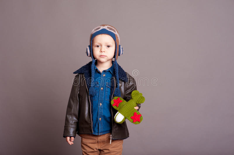 Cute baby boy in room stock images