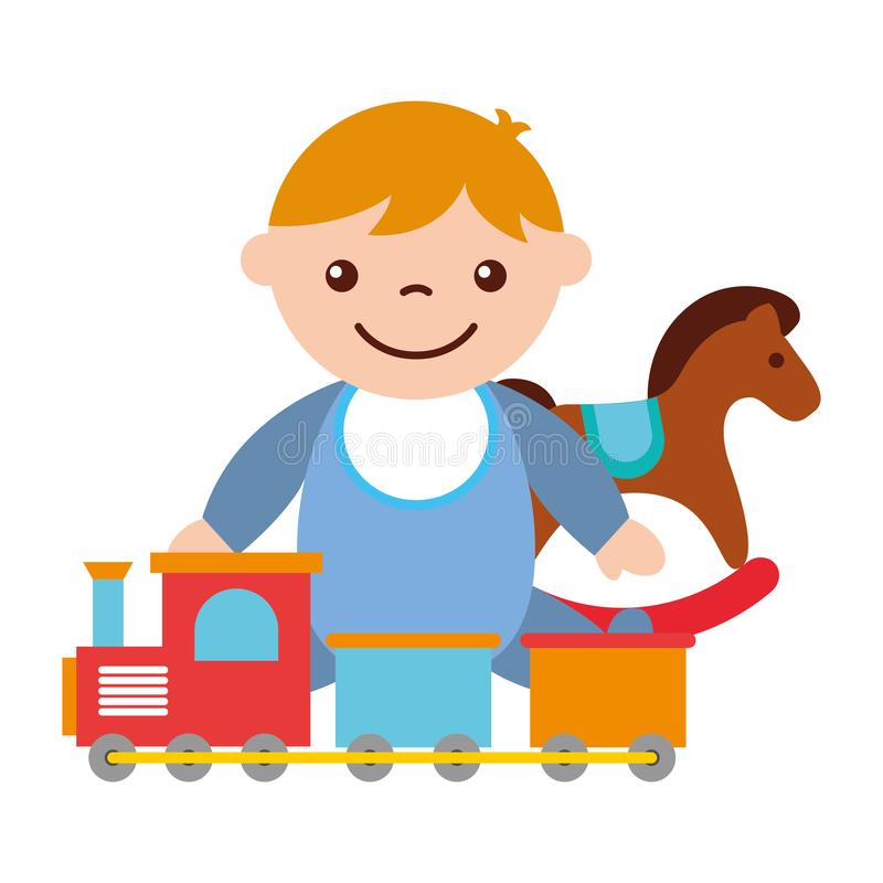 Cute baby boy sitting with rocking horse train toy. Vector illustration royalty free illustration