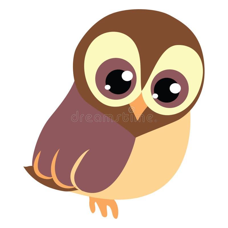 Cute baby brawn owl with big eyes. Cute baby brawn owl vector cartoon illustration . Wise educational owl icon logo cute owl cartoon with big eyes royalty free illustration