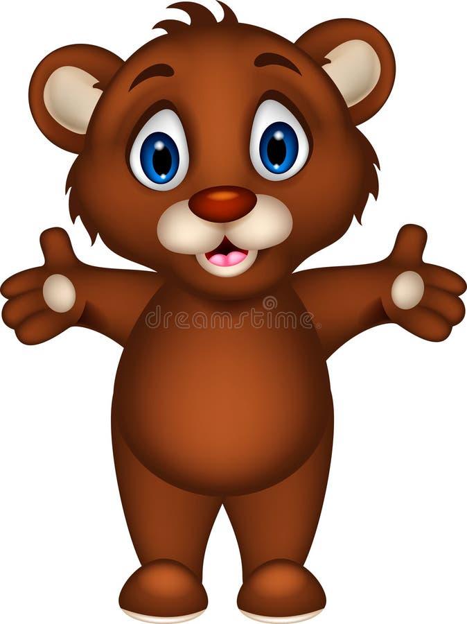Cute baby brown bear cartoon posing royalty free illustration