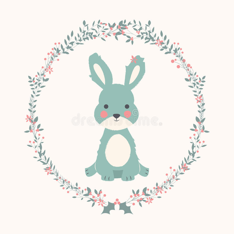 Free Cute Baby Bunny Rabbit In Christmas Flower And Branch Wreath Royalty Free Stock Images - 78722569