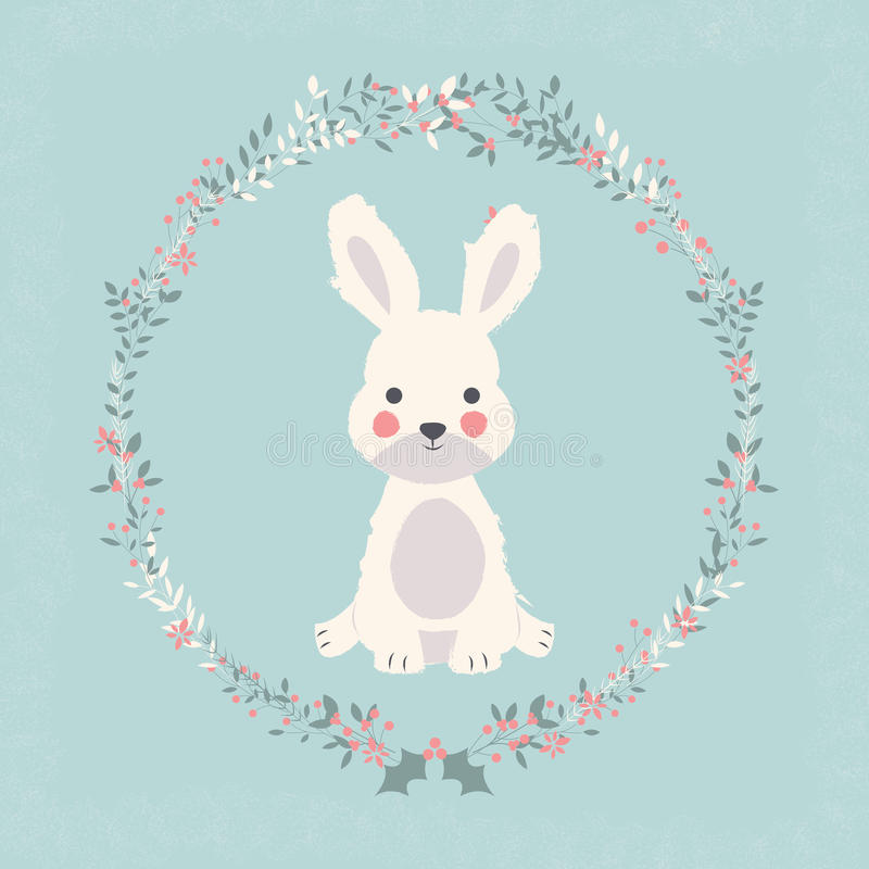 Free Cute Baby Bunny Rabbit In Christmas Flower And Branch Wreath Royalty Free Stock Images - 78722929