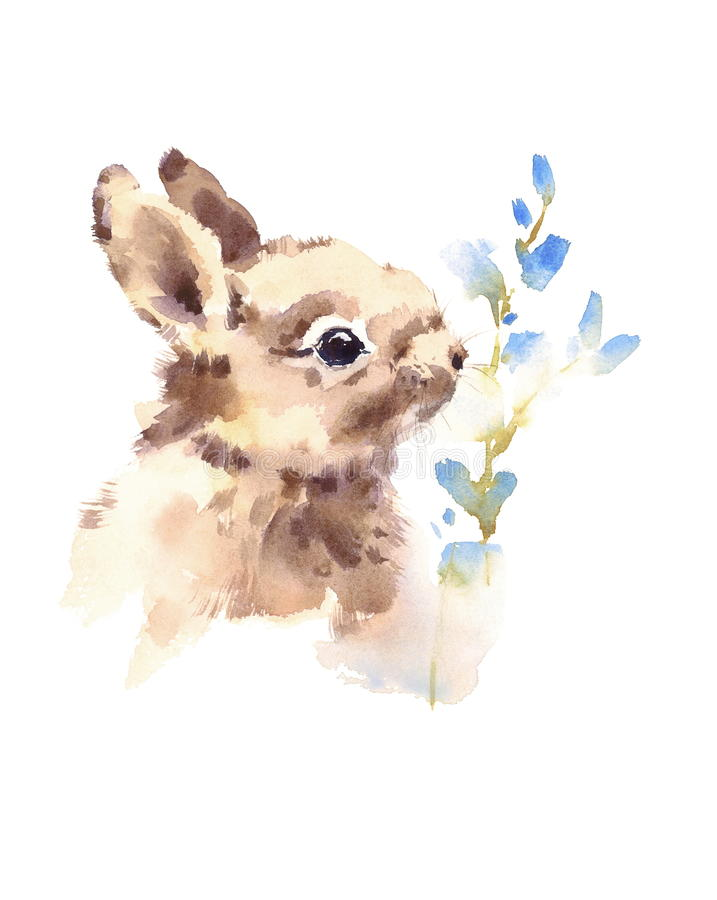 Cute Baby Bunny Smelling Blue Flowers Watercolor Animals