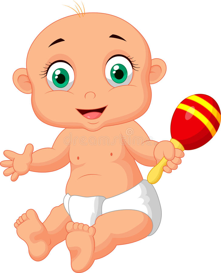 Cute baby cartoon playing with macara toy. Illustration of Cute baby cartoon playing with macara toy stock illustration
