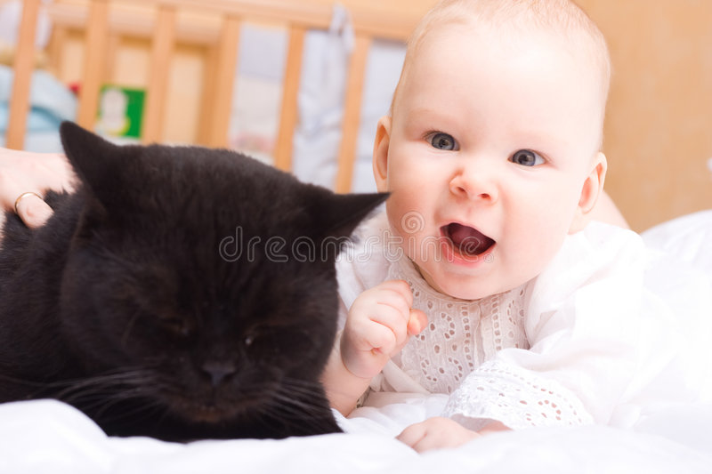 Cute baby with cat royalty free stock images