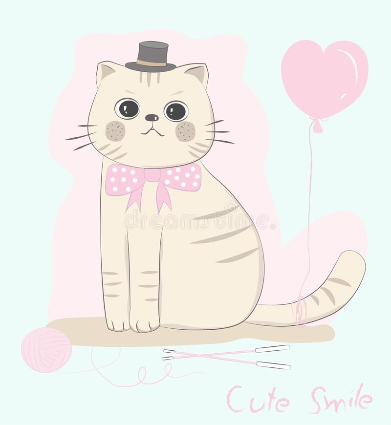 Cute baby cat bow ties with balloon shape pink heart. Hand drawn. Cartoon style stock illustration