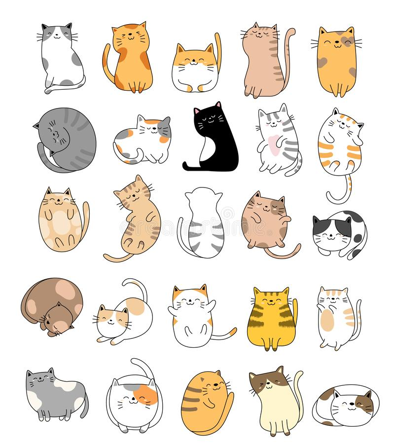 Free Cute Baby Cats Cartoon Hand Drawn Style,for Printing,card, T Shirt,banner,product.vector Stock Photo - 146349760