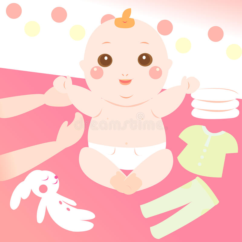 Cute baby changing clothes royalty free illustration