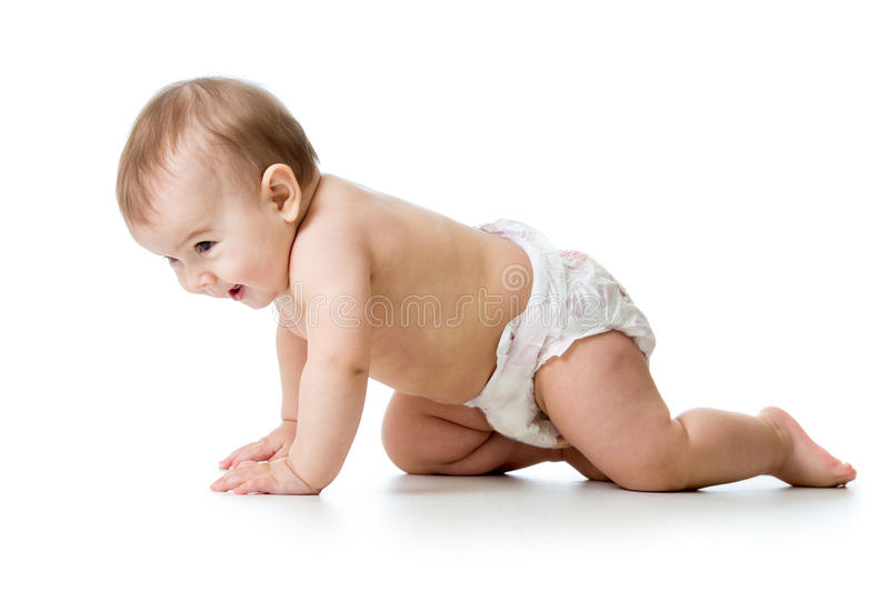 Cute baby child crawling isolated on white background stock photos