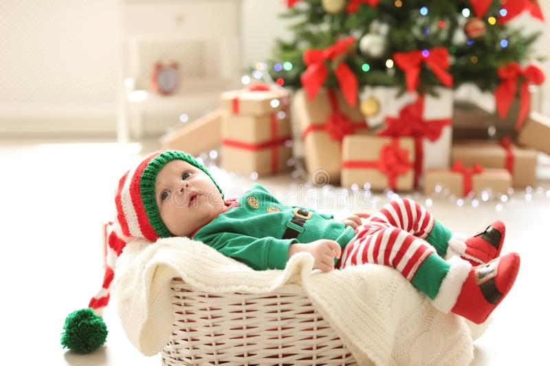 Cute baby in Christmas costume royalty free stock images