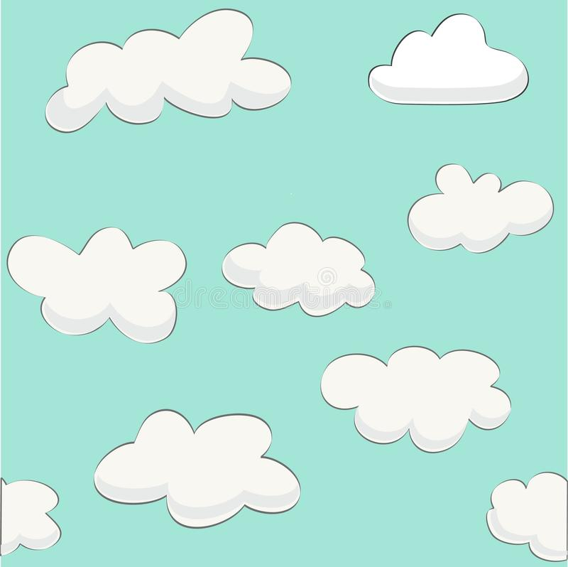 Cute baby cloud pattern vector seamless royalty free illustration