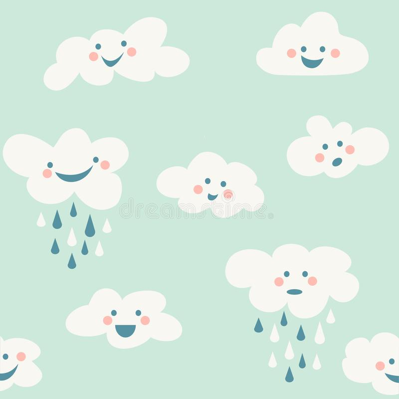 Cute baby cloud pattern vector seamless vector illustration