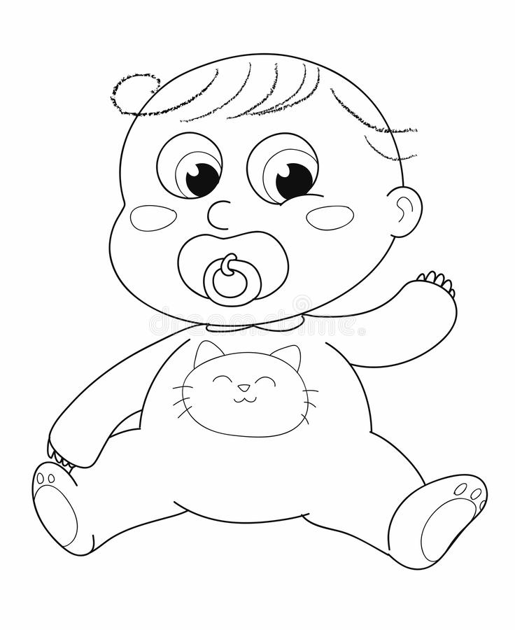 Cute baby - coloring stock photo