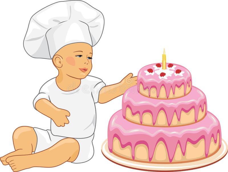 Cute baby confectioner with birthday cake royalty free stock images
