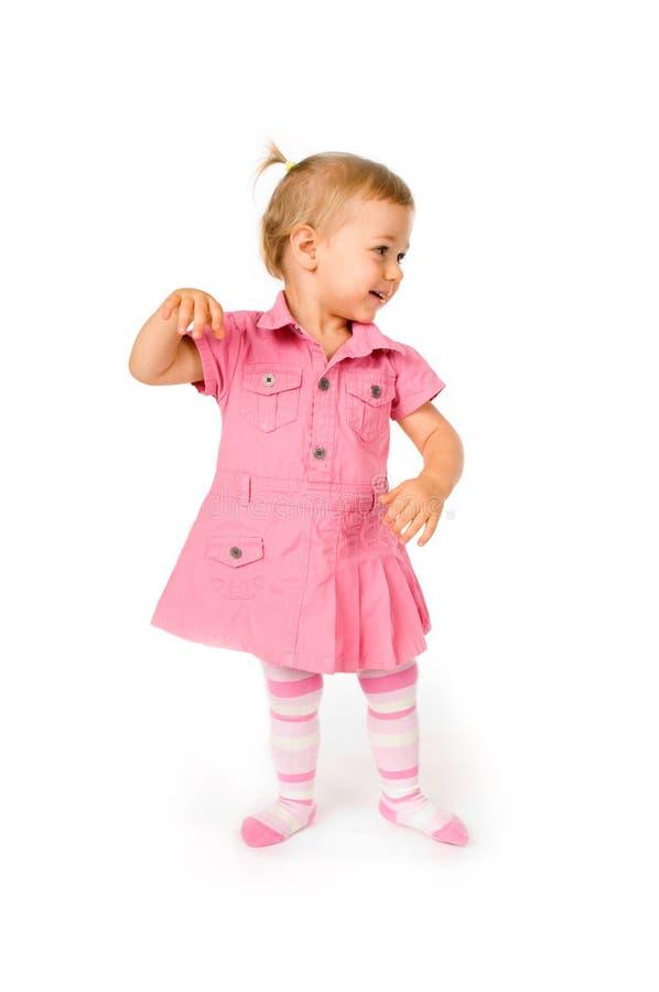 Cute baby dancing stock image