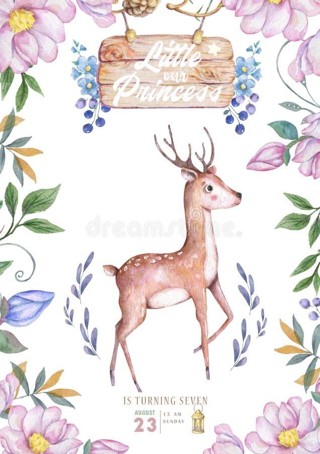 Cute baby deer animal isolated illustration for children. Bohemian watercolor boho forest deer family watercolor drawing Perfect royalty free illustration