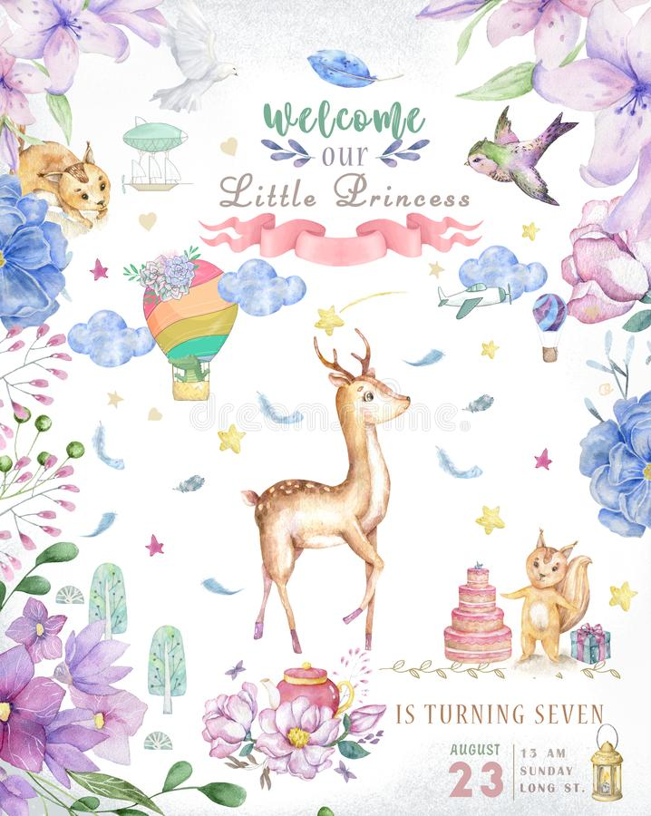 Cute baby deer animal isolated illustration for children. Bohemian watercolor boho forest deer family watercolor drawing Perfect royalty free stock photography
