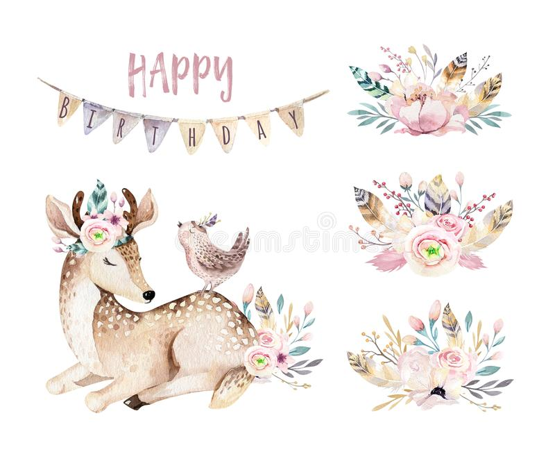Cute baby deer animal nursery isolated illustration for children. Watercolor boho forest cartoon Birthday patry. Cute baby deer animal nursery isolated stock illustration