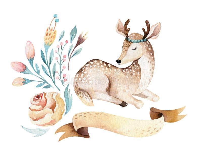 Cute baby deer animal nursery isolated illustration for children. Watercolor boho forest cartoon Birthday patry. Cute baby deer animal nursery isolated stock illustration
