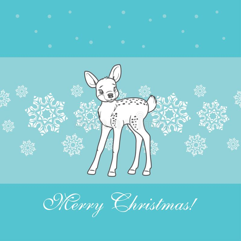 Cute baby deer on a blue background with snowflakes stock images