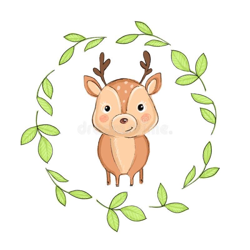 Cute baby deer cartoon illustration stock illustration