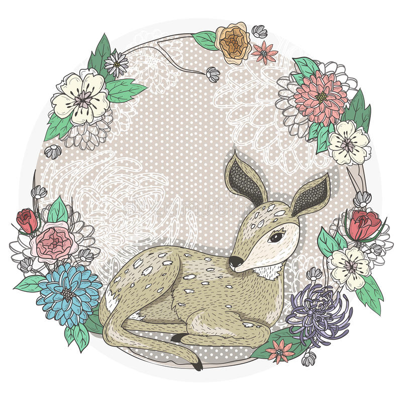 Cute baby deer and flowers frame. stock illustration