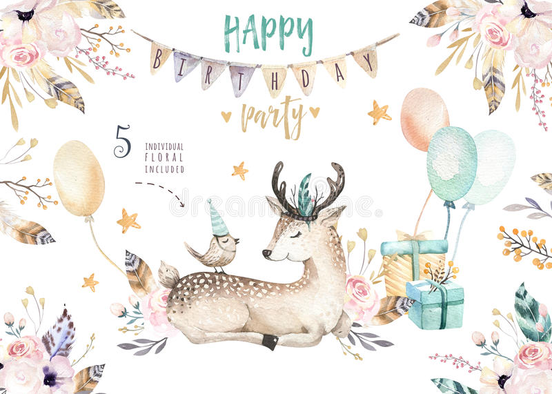 Cute baby deer nursery animal isolated illustration for children. Bohemian watercolor boho forest deer family drawing vector illustration