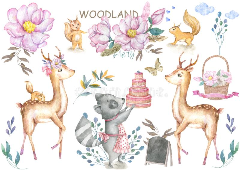 Cute baby deer and roccoon with tasty cake animal isolated illustration for children. Bohemian watercolor boho forest deer family royalty free illustration