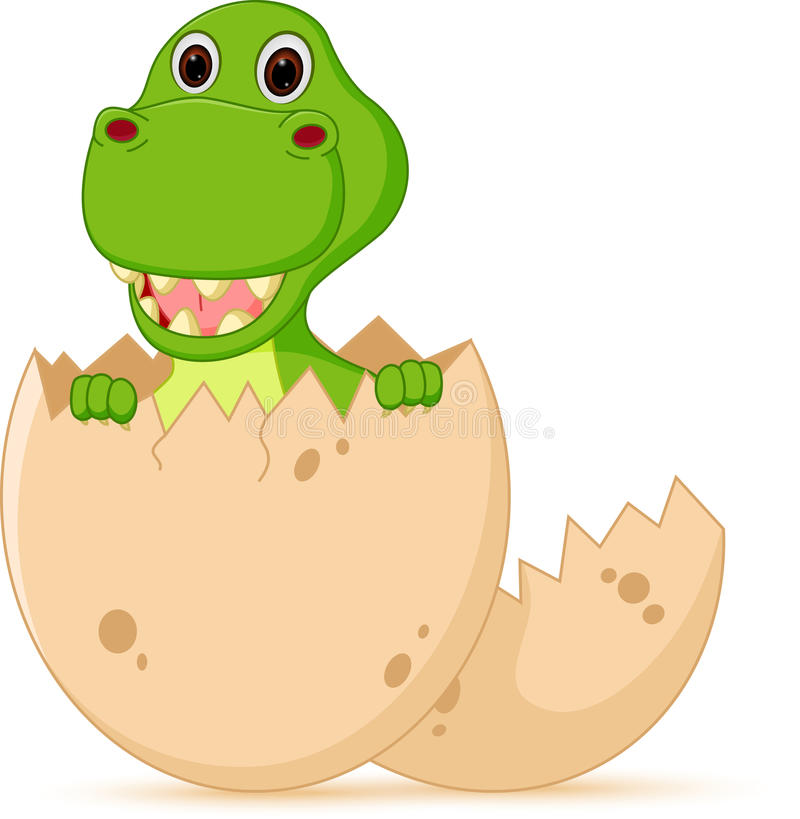 Free Cute Baby Dinosaur Cartoon Hatch Royalty Free Stock Image - 48518156