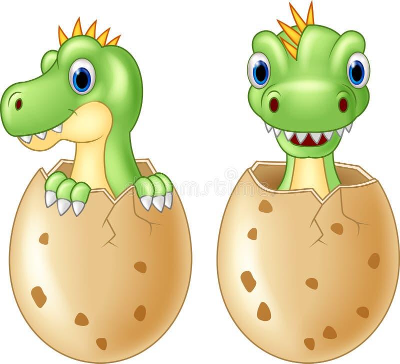 Cute baby dinosaur hatching,. Illustration of Cute baby dinosaur hatching, on white background royalty free illustration