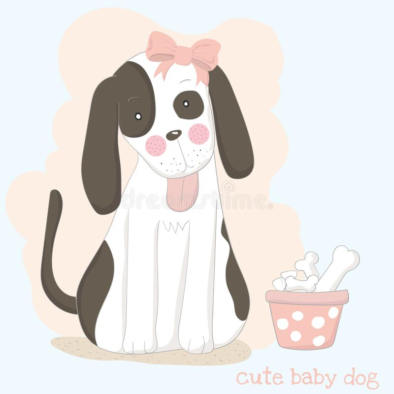 The cute baby dog with bone. Hand drawn cartoon style.  vector illustration