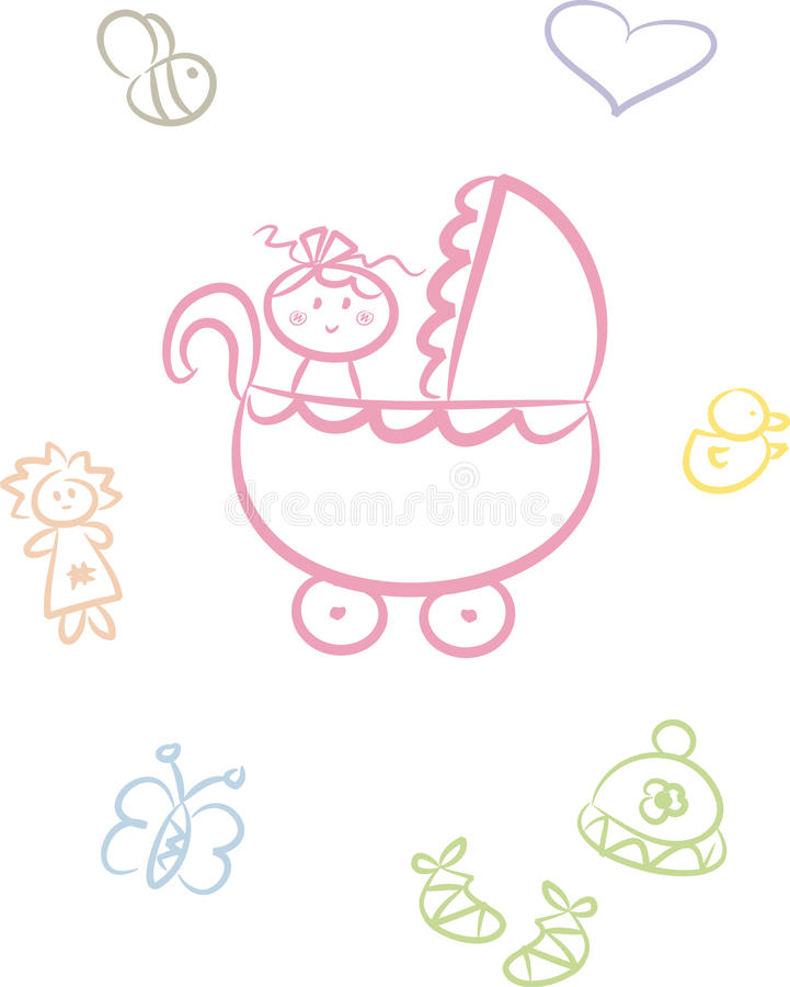 Cute Baby Doodle Set (Girl) Stock Photography