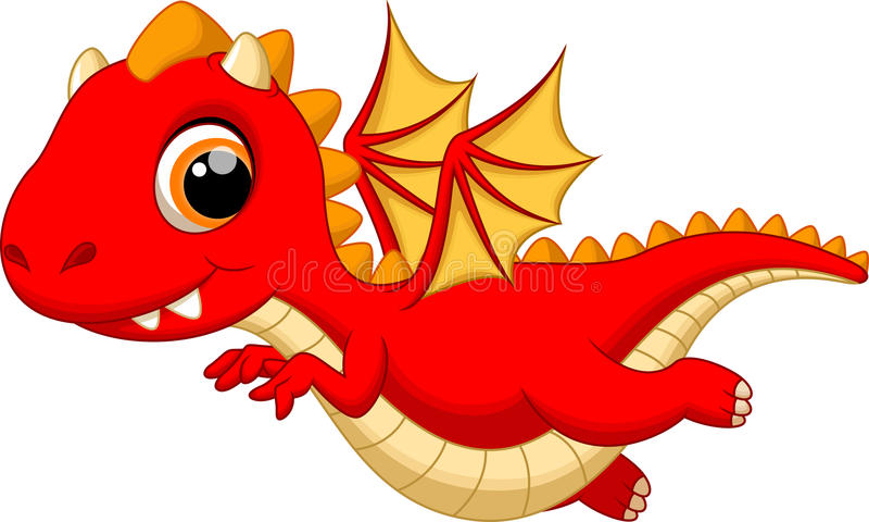 Cute baby dragon cartoon flying vector illustration