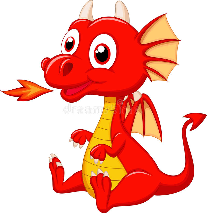 Cute baby dragon cartoon vector illustration