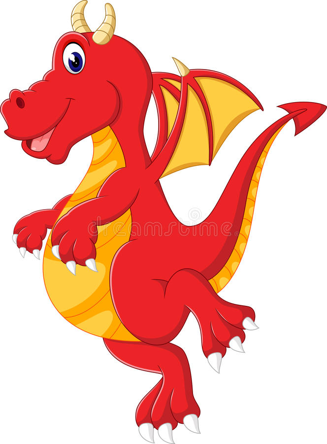 Cute baby dragon cartoon royalty free illustration