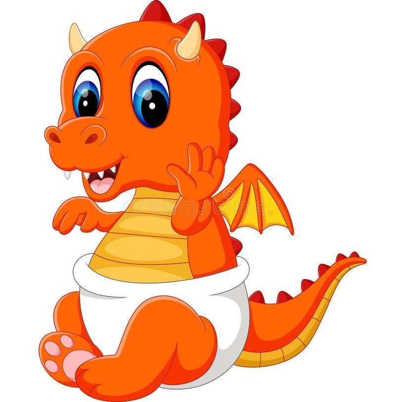 Cute Baby Dragon Cartoon Stock Vector