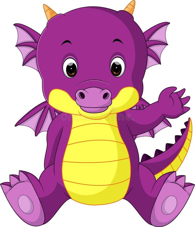 Cute baby dragon cartoon stock illustration