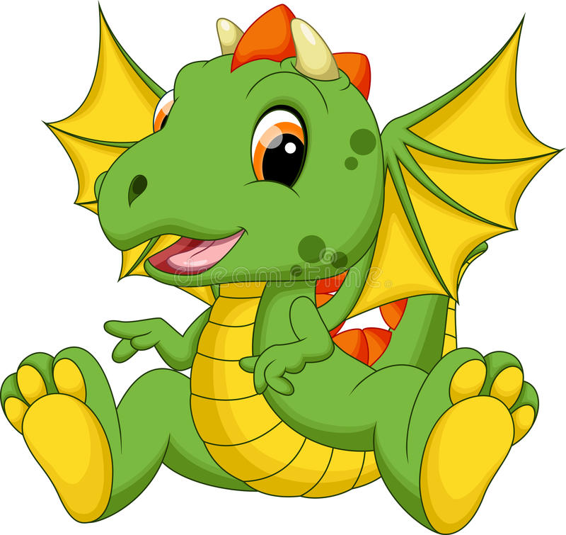 Cute baby dragon cartoon. With white background